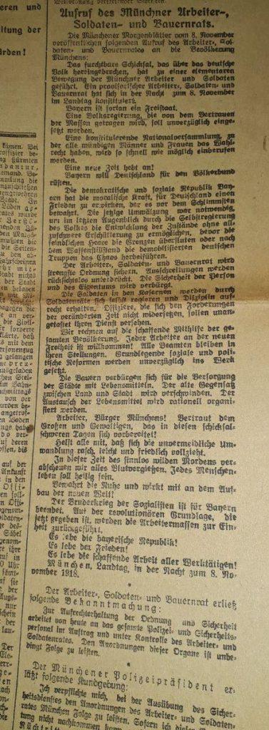 Augsburger Postzeitung, 9. November 1918