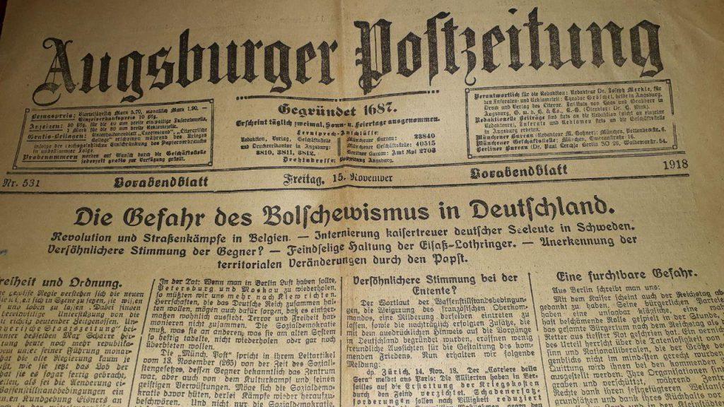 Augsburger Postzeitung, 15. November 1918